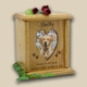 Heart & Oval Photo Wood Pet Cremation Urn - X-Large