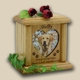 Heart & Oval Photo Wood Pet Cremation Urn - Small
