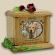 Heart & Oval Photo Wood Pet Cremation Urn - Medium