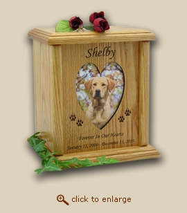 Heart & Oval Photo Wood Pet Urn - 4 Sizes