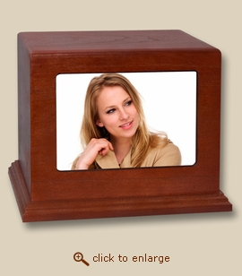 Horizontal Photo Display Cherry Wood Cremation Urn