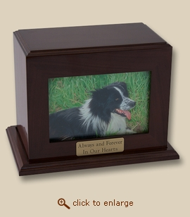 Horizontal Walnut Photo Medium Wood Pet Cremation Urn