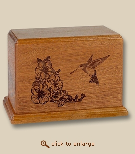 Hummingbird Laser Art Mahogany Wood Cremation Urn