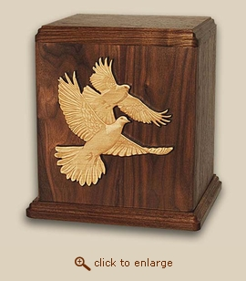 Inlay Doves Wood Cremation Urn - Companion