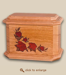 Inlay Roses Wood Cremation Urn - Octagon