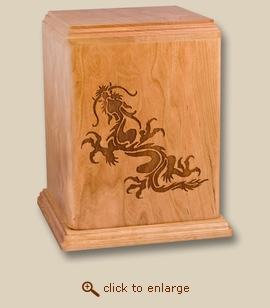 Inspirational Dragon Art Cherry Wood Cremation Urn