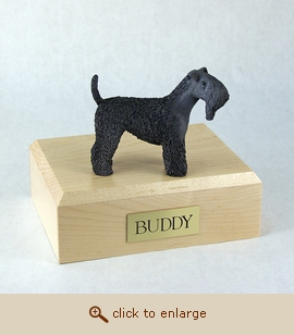 Kerry Blue Terrier - Dog Figurine Wood Pet Urn