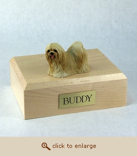 Lhasa Apso - Dog Figurine Wood Pet Urn