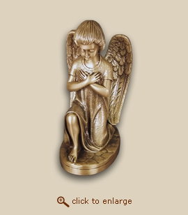 Lost Wax Cast Bronze Cremation Urn - Kneeling Angel Crossed Arms