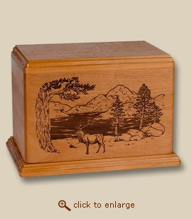 Mahogany Elk Laser Carved Wood Cremation Urn
