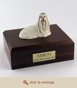 Maltese - Dog Figurine Wood Pet Urn