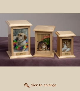 Maple Wood Pet Photo Urn Vertical - 3 Sizes