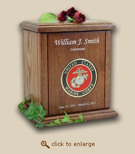 Marine Corps Military Recessed Medallion Chestnut Wood Cremation Urn