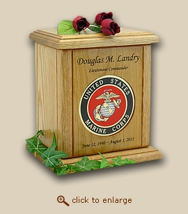 Marine Corps Military Recessed Medallion Wood Cremation Urn