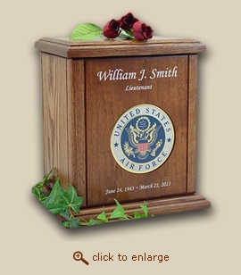Military Air Force Recessed Medallion Chestnut Wood Cremation Urn
