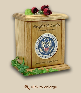 Military Air Force Recessed Medallion Wood Cremation Urn