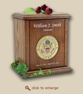 Military Army Recessed Medallion Chestnut Wood Cremation Urn
