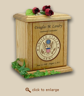 Military Army Recessed Medallion Wood Cremation Urn