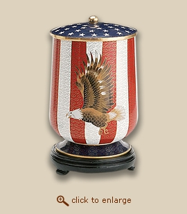 Military Flag and Eagle Cloisonne Cremation Urn - Small