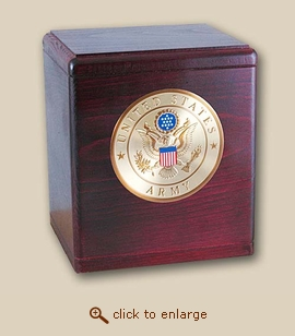 Military Medallion Cremation Urn - Rosewood