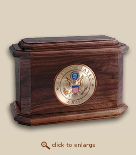 Military Medallion Patriot  Wood Cremation Urn