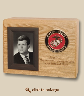 Military Photo Frame Wood Cremation Urn