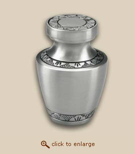 Modern Pewter Engraved Cremation Urn - Keepsake