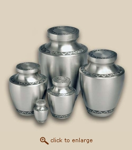 Modern Pewter Engraved Cremation Urn - Small