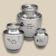 Modern Pewter Engraved Pet Urns