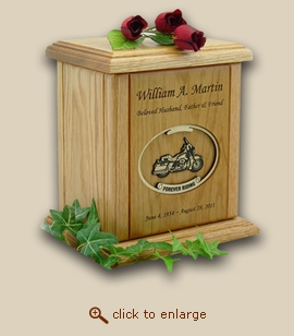 Motorcycle Recessed Oval Forever Riding Wood Cremation Urn
