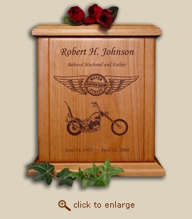 Motorcycle Wood Cremation Urn - Forever Riding Chopper