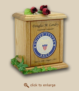 Navy Military Recessed Medallion Wood Cremation Urn