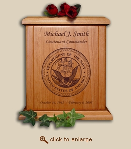 Navy Military Wood Cremation Urn