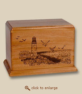 Newport Lighthouse Deep Laser Mahogany Wood Cremation Urn