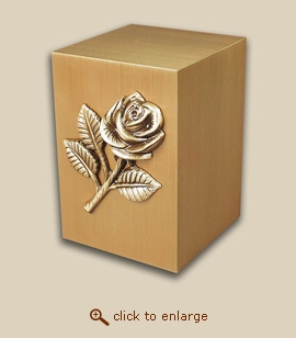 Paradise Child Bronze Cremation Urn with Rose