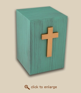 Patina Child Bronze Cremation Urn with Cross