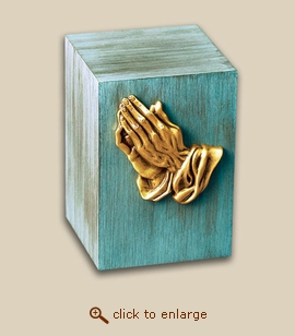 Patina Child Bronze Cremation Urn with Praying Hands