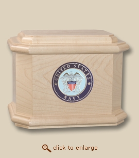 Patriot Navy Military Medallion Wood Cremation Urn