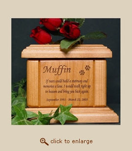 Paws with Poem Wood Pet Urn - Extra Small