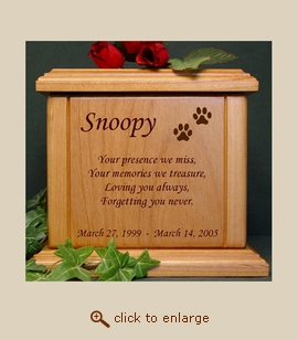 Paws with Poem Wood Pet Urn - Large