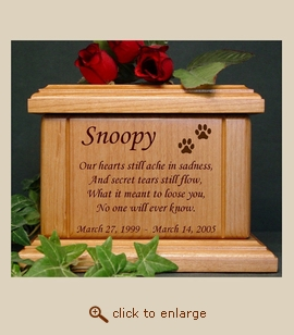 Paws with Poem Wood Pet Urn - Small
