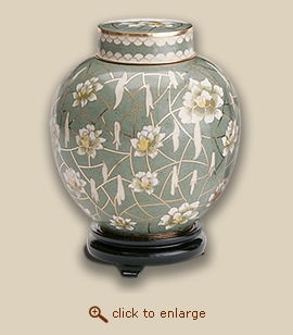 Pear Blossom Cloisonne Cremation Urn - Small