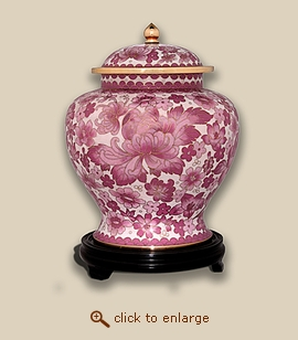 Pink Floral Cloisonne Art Cremation Urn - Small