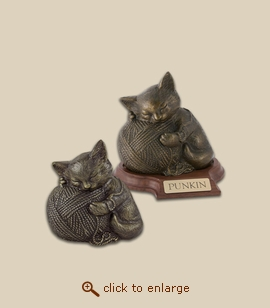 Precious Cat Urn Figurine - Bronze
