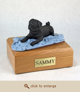 Pug, Black - Dog Figurine Wood Pet Urn