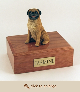 Pug - Dog Figurine Wood Pet Urn