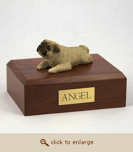 Pug, Fawn - Dog Figurine Wood Pet Urn