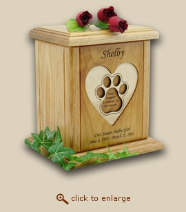 Recessed Heart with Paw Print Engraved Wood Pet Urn