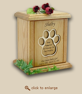 Recessed Paw Print Engraved Wood Pet Urn