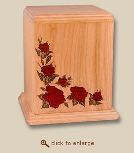 Red Roses Art Inlay Cherry Wood Cremation Urn